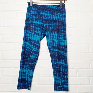 Onzie Blue Shibori Tie Dye Leggings Crop Teal